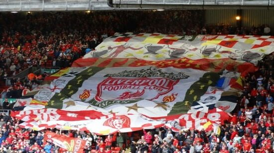 Liverpool Trademark crowd with large logo flag